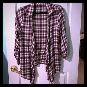 Flannel patterned cardigan